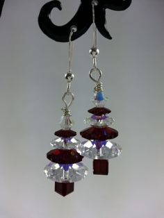 "Dark red ""Siam"" and clear genuine Swarovski crystal Christmas tree earrings.  Also available as a necklace."