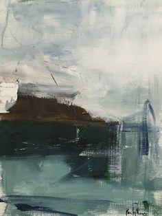 art original acrylic painting on fine art paper, abstract ocean sea green