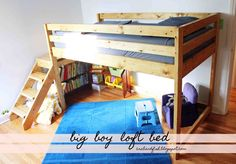 I want this toddler bed for Zeke! With enough room below to put a queen trundle bed under for guests. Loft Bed Plans Do It Yourself - loft toddler bed Boys Loft Beds, Toddler Loft Beds, Bunk Beds With Stairs, Boy Toddler, Toddler Rooms, Bedroom Loft, Blue Bedroom, Basement Bedrooms, Loft Room