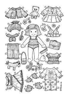 Karen`s Paper Dolls: Ditte Paper Doll to Colour. Paper Art, Paper Crafts, Paper Dolls Printable, Vintage Paper Dolls, Coloring Book Pages, Colored Paper, Paper Toys, Handmade Toys, Doll Patterns