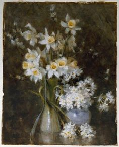 Daffodils and jonquils by Margaret Stoddart in the Christchurch Art Gallery collection. Daffodils, New Art, Still Life, New Zealand, Oriental, Art Gallery, Flowers, Prints, Painting