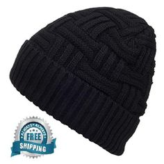 f72f5fdc516 Mens Winter Hat Knitting Wool Warm Hat Beanie Skull Cap One size- Black  AY