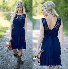 Country Bridesmaid Dress 2016 Royal Blue Chiffon And Lace Short Western Bridesmaid Dresses For Weddings Cheap Backless Knee Length Casual Country Bridesmaid Dresses 2K16 Prom Cheap Online with 88.0/Piece on Magicdress2011's Store   DHgate.com