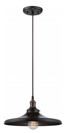 Rustic Bronze finish pendant lamp with matching shade