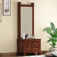 Buy latest wooden dressing table online in India. Get makeup ⭐dressing table⭐ with mirror and storage from wide range of modern dressing table @ Wooden Street Makeup Storage Units, Toy Storage Shelves, Ikea Storage Cabinets, Table Storage, Storage Drawers, Food Storage, Small Dressing Table, Bedroom Dressing Table, Dressing Table Design