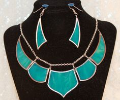 Teal Earring & Necklace Stained Glass Set from Rainy Wish Studios by Charles Barnes