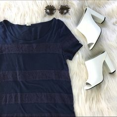"""J Crew Navy Lace Stripe Tee This J Crew t shirt is super adorable with lace-like stripes in a matching navy color. Super cute with chunky heels and round sunglasses! Good condition!                                                                                                               100% cotton Bust (underarm to underarm): 16"""" Length (from shoulder to bottom): 25"""" J. Crew Tops Tees - Short Sleeve"""