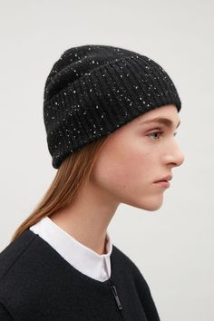COS image 3 of Speckled cashmere hat in Black Cashmere Hat, Wool Blend, Scarves, Gloves, Beanie, Hats, Women, Image, Style