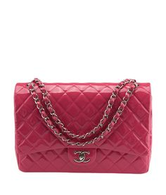 Chanel Jumbo Quilted Hot Pink Patent Leather Shoulder Bag