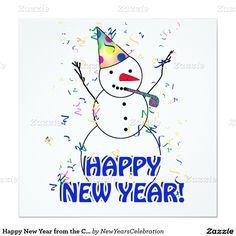 Happy New Year from the Celebrating Snowman #newyearsinvitation  by #NewYearsCelebration  #gravityx9 #Zazzle  #Snowman