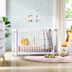 The Wave Crib   Natural Wood Modern Convertible Mini-Crib and Full Crib with Toddler Bed   Nestig Mini Crib, Wood Accents, All About Eyes, Innovation Design, Midcentury Modern, Natural Wood, Cribs, Backdrops, Toddler Bed