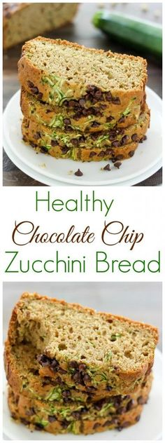 Ultra moist and tender, my recipe for Healthy Zucchini Bread is wholesome, simple, and sweet. Each luscious loaf makes a wonderful breakfa. Healthy Dessert Recipes, Healthy Sweets, Healthy Baking, Healthy Snacks, Breakfast Recipes, Apple Desserts, Vegan Breakfast, Snack Recipes, Chocolate Chip Zucchini Bread