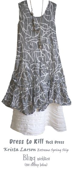Kati Koos. pintucked skirt, printed tunic   I like this idea of tunic with skirt.  I mostly wear elastic waisted skirts as I have a thick middle!  and the length needs to be close to my knee