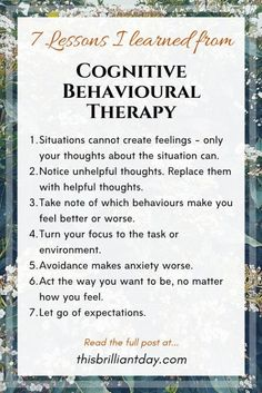 7 Lessons I Learned from Studying Cognitive Behavioural Therapy. 7 Lessons I Learned from Studying Cognitive Behavioural Therapy. Mental Health Therapy, Positive Mental Health, Mental Health Counseling, Les Sentiments, Coping Skills, Study Skills, Self Improvement, Self Help, How Are You Feeling