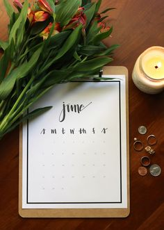 Free Printable 2015 Hand-Lettered Calendar