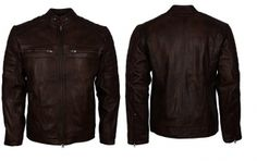 Arrow Vintage Cafe Racer Retro Biker Brown Waxed Motorcycle Leather Jacket Mens – Genuine Leather – 7657dsgf