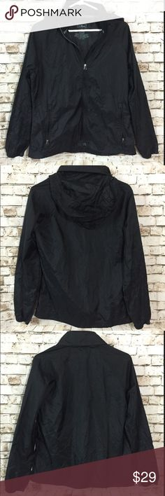L.L. Bean medium black windbreaker raincoat jacket Great condition! All my items are pictured accordingly. Every details are on the picture. If not pictured the dry clean tag, item doesn't need dry clean. If no measures provided, ask.  Please zoom in. Please check accordingly. Bundle & save!! Always message me if you need more discount on your items. I try to work as best as I can. Thank you! L.L. Bean Jackets & Coats Utility Jackets