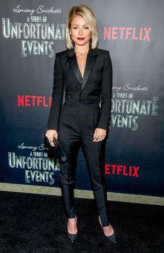 Kelly Ripa in black Saint Laurent tuxedo suit