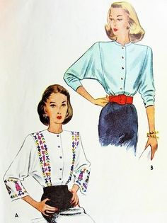 Draped cross neck-scarf Drop shoulders sleeves 1930s-40s Jacket-blouse sewing pattern