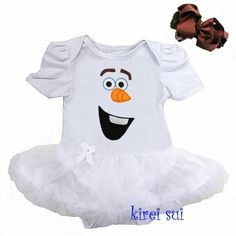 Baby Girls Olaf Frozen Costume Costume Bodysuit Romper Pettiskirt Tutu & Bow Headband Set