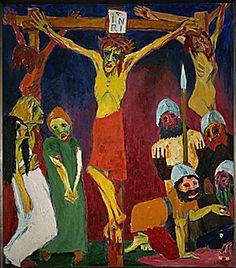 "Emil Nolde LIFE OF CHRIST TRIPTYCH: CRUCIFIXION 1912 o/c 49.6 x 66"" Museum Ludwig Cologne (Lessing Photo Archive) GERMAN EXPRESSIONISM"
