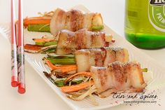 Color and Spices: Bacon wrapped Enoki mushrooms