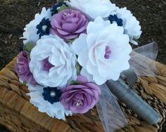 Bouquet papel flor ramo ramo de novia por morepaperthanshoes