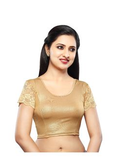 Gold Shimmer Stretchable Ready-made Saree Blouse SNT-A-18-SL