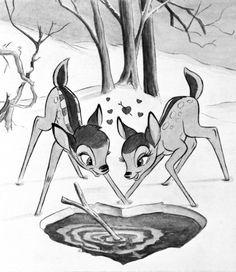 Bambi and Feline Bambi Disney, Disney Fan Art, Disney Cartoons, Disney Love, Disney Magic, Disney Pixar, Walt Disney, Disney Pencil Drawings, Spirit And Rain
