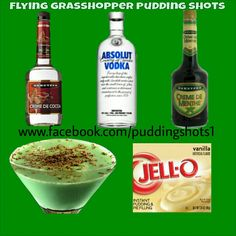 Flying Grasshopper Pudding Shots.  See full recipe on facebook.com/puddingshots1