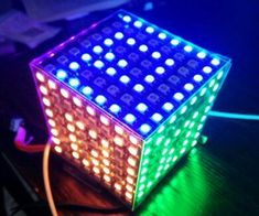 LED Matrix Cube: Use LED matrix and clear display boxes and Blinkytape controller to build a simple programable RGB LED matrix Cube in 30 minutes. Led, Display Boxes, Cube, Diy Projects, Simple, Electronics, Cartoon, Hipster Stuff, Handyman Projects