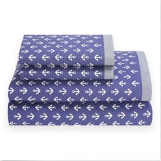 NWB Tommy Hilfiger QUEEN 4PC Sheet Set Mystic Anchor Navy Blue&White #TommyHilfiger #Nautical