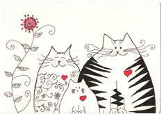 Ink Drawing - Loving cats family - original via Etsy Valentines Day Drawing, Valentines Art, Doodle Drawings, Doodle Art, Cute Cat Illustration, Cat Quilt, Cat Cards, Cat Drawing, Watercolor Cards