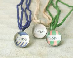 Hope Little Reminder pendant necklace with vintage wallpaper - Brass chain / green