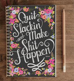 2014 12-Month Weekly Planner with Back Pocket – Quit Slackin' Black