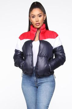 Rain Won't Stop Me Puffer Jacket - Navy/combo Striped Jumpsuit, Black Jumpsuit, Dress Black, Dress Red, Silver Puffer Jacket, Off Shoulder Jumpsuit, Satin Midi Dress, Fashion Nova Models, Santa Cruz