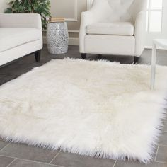 Accessories & Furniture,Luxury White Soft 4 X 4 Fur Rugs With Chic White Sofa,Elegant 4 X 4 Rugs Design To Enchant Your Home