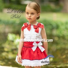 cf0d0dfca Conjunto de niña DOLCE PETIT de falda roja con lazos lunares Vestido  Infantil