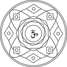 Mandala con Símbolo de Sahasrara  Dibujo para colorear