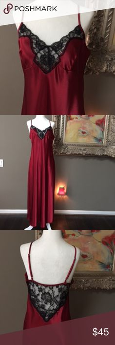 "Valerie Stevens long nightgown Valerie Stevens long gown in deep red with black lace.  Gown has one side slit and straps are adjustable.  Size SMALL.  Back measures 41"" long and overall length is 50"".  New without tags! Valerie Stevens Intimates & Sleepwear"