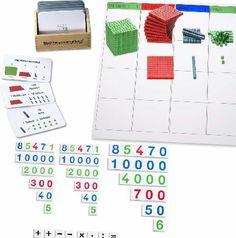 Komplettset zum Thema Stellenwerte. Alle Materialien sind in den Montessori-Stellenwerten gehalten.