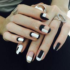 Perfect black and white nail art #nails #nail-art #womentriangle