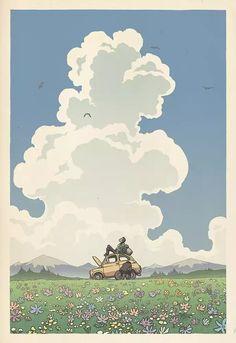 Miyazaki Hasui illustration by Bill Mudron