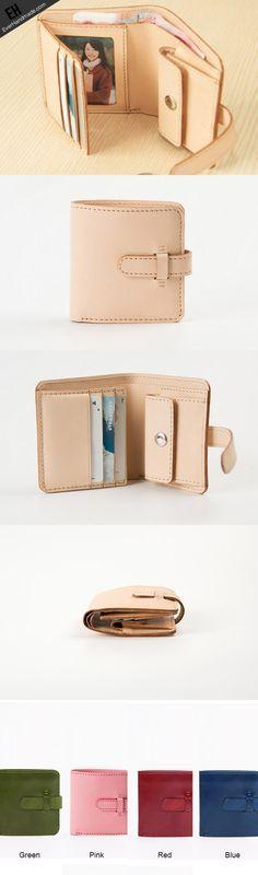Handmade women short leather wallet beige vintage brown navy short wallet for…