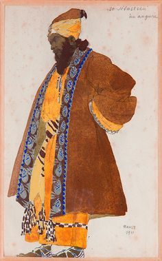 Leon Bakst Another Ottoman (Pharyah) Russian Painting, Russian Art, Ivan Bilibin, Ballet Russe, Fairy Tales For Kids, Islamic Paintings, Russian Ballet, Theatre Costumes, Classic Paintings
