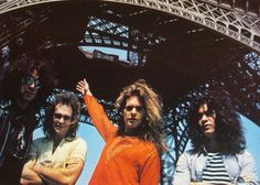 """Rare photos of Van Halen posing by the Eiffel Tower, and a great audio recording of their concert in Paris, with killer covers of The Who's """"Summertime Blues"""" & Black Sabbath's """"Symptom Of The Universe."""" Plus """"Voodoo Queen."""" Great stuff!"""