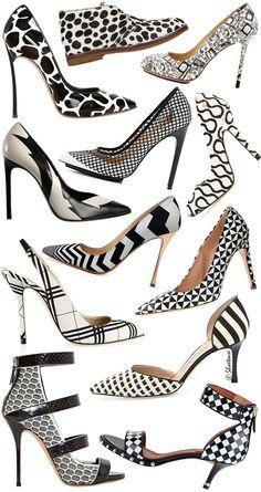 Spring 2014 Trends - Black White Graphic Print Heels