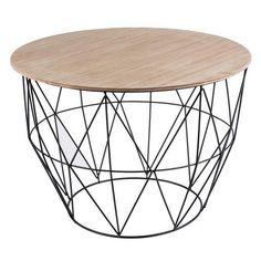 Table panier - MDF, métal et paulownia - 55 x 55 x H 41 cm - Noir et bois