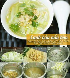 Bạn có thể tận dụng luôn phần nước luộc rau củ để làm canh. Canh bầu nấu tôm sẽ không chỉ ngon mà còn rất mát nữa đấy!