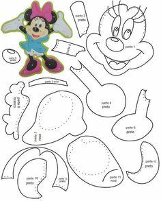 Moldes - Minnie e Mickey Mouse Disney Diy, Disney Crafts, Baby Disney, Mickey E Minnie Mouse, Mickey Mouse Crafts, Paper Piecing Patterns, Applique Patterns, Felt Animal Patterns, Felt Ornaments